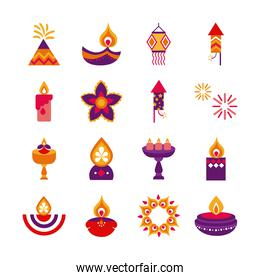 bundle of sixteen diwali set flat style icons