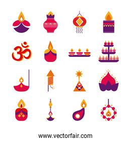 bundle of sixteen diwali set flat style