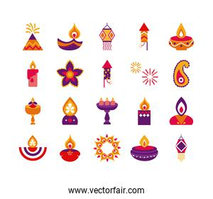 bundle of twenty diwali set flat style icons