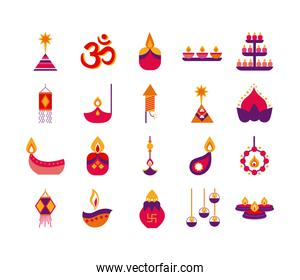 bundle of twenty diwali set flat style
