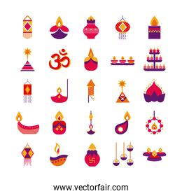 bundle of twenty five diwali set flat style icons