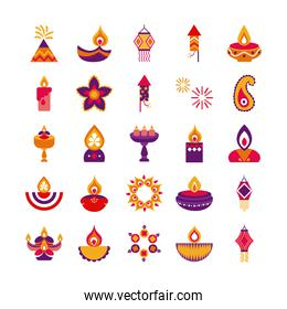 bundle of twenty five diwali set flat style