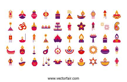 bundle of fifty diwali set flat style icons