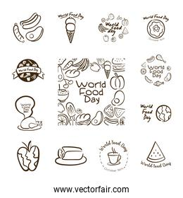 bundle of thirteen world food day celebration letterings line style icons