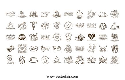 bundle of fifty world food day celebration letterings line style icons