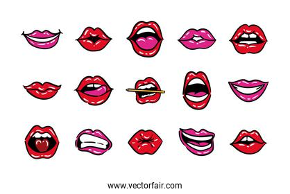 bundle of fifteen mouths pop art line and fill style icons