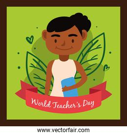 afro teacher female worker character icon