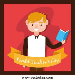 male teacher worker character icon