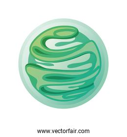 green solar system planet on white background