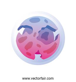 planet or asteroid of the solar system pink color on white background
