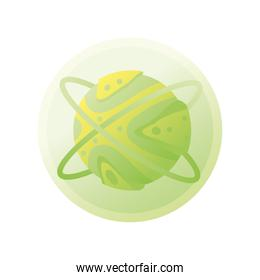 planet or asteroid of the solar system green color on white background