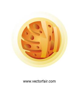 yellow solar system planet on white background