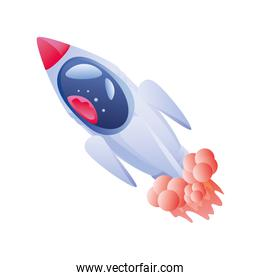 space rocket on white background