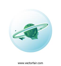 planet or asteroid of the solar system green color