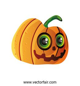 funny pumpkin for halloween on white background