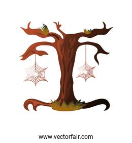 scary tree for halloween on white background