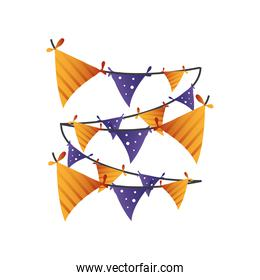 decorative garland for halloween on white background