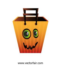 bag decorated for halloween on white background
