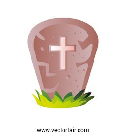 cemetery headstone for halloween on white background