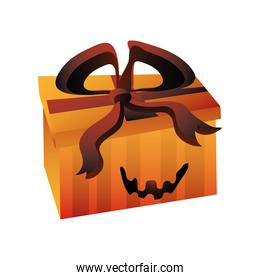 gift box for halloween on white background