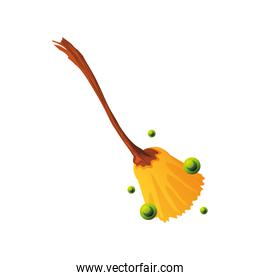 witch broom for halloween on white background