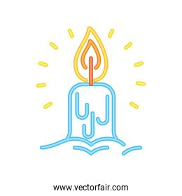 candle cartoon in neon light on white background