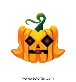 pumpkin with mystery face for halloween over white background