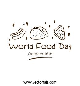 world food day celebration lettering with delicious fast food line style