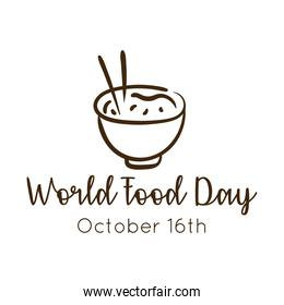 world food day celebration lettering with chinese rice line style