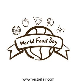 world food day celebration lettering with earth planet and fruits line style