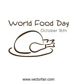 world food day celebration lettering with turkey line style