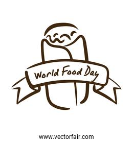 world food day celebration lettering with mexican burrito line style