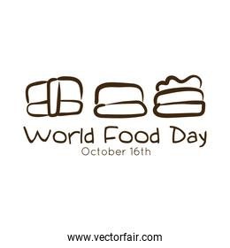 world food day celebration lettering with sushi line style