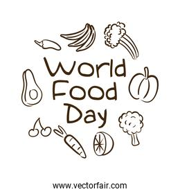 world food day celebration lettering with fruits and vegetables line style