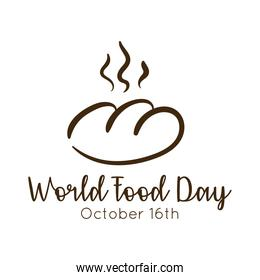 world food day celebration lettering with bread line style