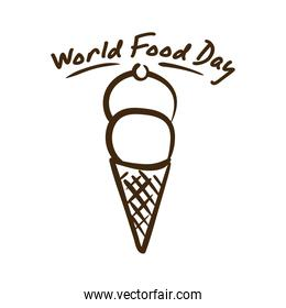 world food day celebration lettering with ice cream line style