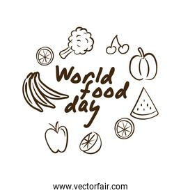 world food day celebration lettering with vegetables and fruits line style