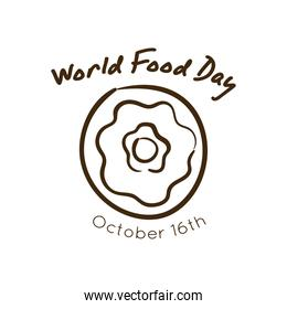 world food day celebration lettering with donut line style