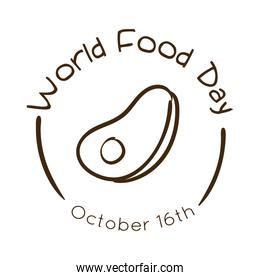 world food day celebration lettering with steak beef line style