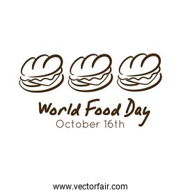 world food day celebration lettering with sandwich line style