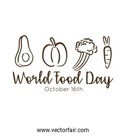 world food day celebration lettering with vegetables line style