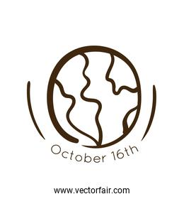 world food day celebration lettering with earth planet line style