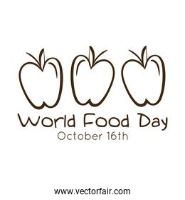 world food day celebration lettering with apples line style