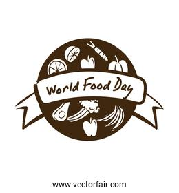 world food day celebration lettering with healthy food line style