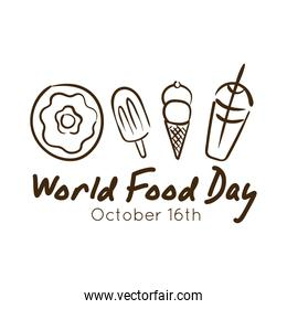 world food day celebration lettering with dessert line style