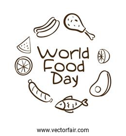 world food day celebration lettering with healthy food around line style
