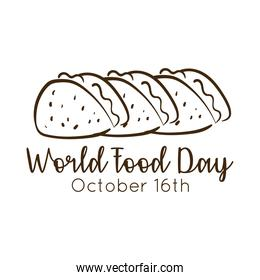 world food day celebration lettering with tacos mexican line style