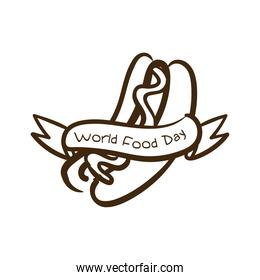 world food day celebration lettering with hot dog line style