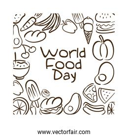 world food day celebration lettering with food pattern line style