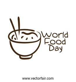 world food day celebration lettering with rice dish line style